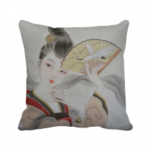 Beauty Folding Fan Chinese Painting Polyester Toss Throw Pillow Square Cushion Gift