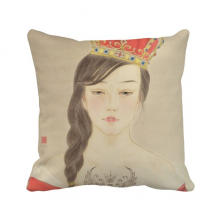 Beauty Royal Crown Chinese Watercolor Polyester Toss Throw Pillow Square Cushion Gift