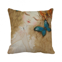 Dress Butterfly Pretty Girl Chinese Painting Polyester Toss Throw Pillow Square Cushion Gift