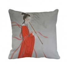Flute Red Beauty Chinese Painting Polyester Toss Throw Pillow Square Cushion Gift