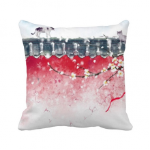 Exploration For Snow Chinese Watercolor Polyester Toss Throw Pillow Square Cushion Gift
