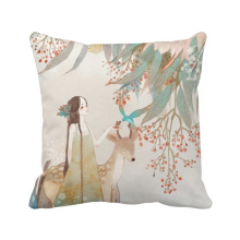 Deer Chinese Classical Style Illustrator Polyester Toss Throw Pillow Square Cushion Gift