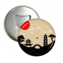 Japan Black White Red Yellow Temple Round Bottle Opener Refrigerator Magnet Pins Badge Button Gift 3pcs