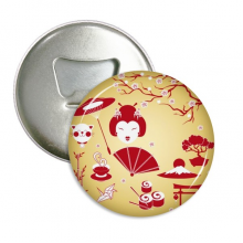 Red Yellow White Cup Sushi Japan Round Bottle Opener Refrigerator Magnet Pins Badge Button Gift 3pcs