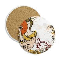 Japan Culture Sexy Geisha Stone Drink Ceramics Coasters for Mug Cup Gift 2pcs