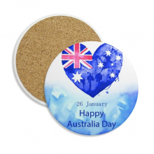 Australia Happy Day Heart Shape Flag Stone Drink Ceramics Coasters for Mug Cup Gift 2pcs
