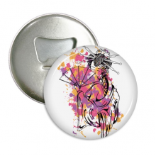 Japanese Culture Point Color Geisha Round Bottle Opener Refrigerator Magnet Pins Badge Button Gift 3pcs