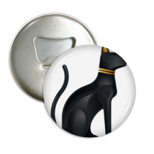 Ancient Egypt Abstract Black Cat Pattern Round Bottle Opener Refrigerator Magnet Pins Badge Button Gift 3pcs