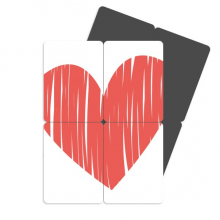 Heart Graffiti Valentine's Day Refrigerator Magnet Puzzle Home Decal Magnetic Stickers (set of 4)