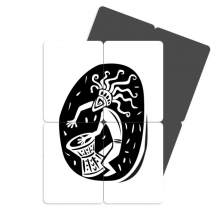 Abstract Ancient Egypt Pharaoh Silhouette Refrigerator Magnet Puzzle Home Decal Magnetic Stickers (set of 4)