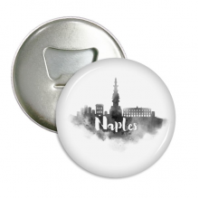 Naples Italy Landmark Ink City Painting Round Bottle Opener Refrigerator Magnet Pins Badge Button Gift 3pcs