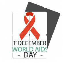 1st December AIDS Day HIV Solidarity Refrigerator Magnet Puzzle Home Decal Magnetic Stickers (set of 4)