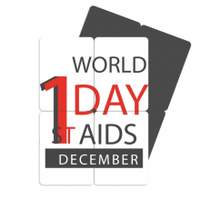 1/12 World AIDS Day HIV  Symbol Refrigerator Magnet Puzzle Home Decal Magnetic Stickers (set of 4)