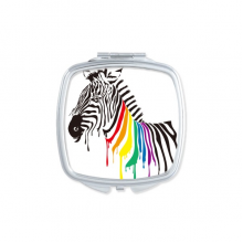 Pinto LGBT Rainbow Color Pattern Square Mirror Portable Compact Pocket Makeup Double Sided Glass