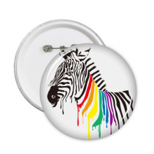 Pinto LGBT Rainbow Color Pattern Round Pins Badge Button Emblem Accessory Decoration 5pcs