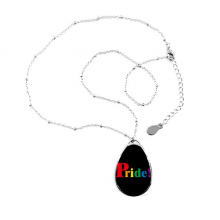 Pride LGBT Rainbow Homo Teardrop Shape Pendant Necklace Jewelry With Chain Decoration Gift