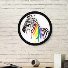 Pinto LGBT Rainbow Color Pattern Round Picture Frame Art Prints of Paintings Home Wall Decal Gift