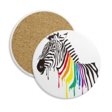 Pinto LGBT Rainbow Color Pattern Coaster Cup Mug Tabletop Protection Absorbent Stone