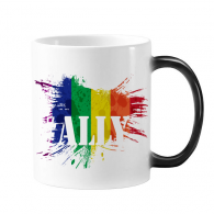 Ally LGBT Rainbow Pattern Changing Color Mug Cup Morphing Heat Sensitive  Gift With Handles 350 ml