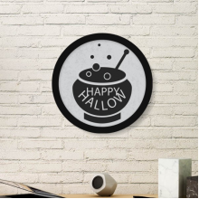 A Pot Of Black Halloween Round Picture Frame Art Prints of Paintings Home Wall Decal Gift