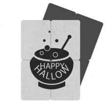 A Pot Of Black Halloween Refrigerator Magnet Puzzle Home Decal Magnetic Stickers (set of 4)