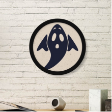 A Winged Halloween Ghost Round Picture Frame Art Prints of Paintings Home Wall Decal Gift