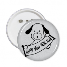 2018 Happy New Year Adorable Dog Round Pins Badge Button Clothing Decoration Gift 5pcs