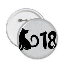 2018 Lovely Dog Happy New Year Round Pins Badge Button Clothing Decoration Gift 5pcs
