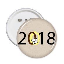 2018 Puppy Pattern Happy New Year Round Pins Badge Button Clothing Decoration Gift 5pcs