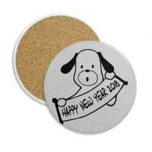 2018 Happy New Year Adorable Dog Stone Drink Ceramics Coasters for Mug Cup Gift 2pcs