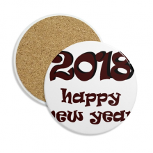 2018 Happy New Year Lovely Font Stone Drink Ceramics Coasters for Mug Cup Gift 2pcs