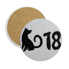 2018 Lovely Dog Happy New Year Stone Drink Ceramics Coasters for Mug Cup Gift 2pcs