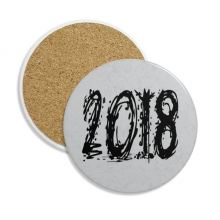 2018 Melt Effect Happy New Year Stone Drink Ceramics Coasters for Mug Cup Gift 2pcs