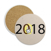 2018 Puppy Pattern Happy New Year Stone Drink Ceramics Coasters for Mug Cup Gift 2pcs