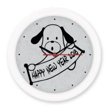 2018 Happy New Year Adorable Dog Silent Non-ticking Round Wall Decorative Clock Battery-operated Clocks Gift Home Decal