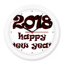 2018 Happy New Year Lovely Font Silent Non-ticking Round Wall Decorative Clock Battery-operated Clocks Gift Home Decal