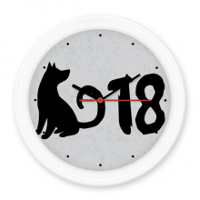 2018 Lovely Dog Happy New Year Silent Non-ticking Round Wall Decorative Clock Battery-operated Clocks Gift Home Decal