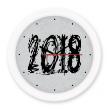 2018 Melt Effect Happy New Year Silent Non-ticking Round Wall Decorative Clock Battery-operated Clocks Gift Home Decal