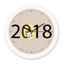 2018 Puppy Pattern Happy New Year Silent Non-ticking Round Wall Decorative Clock Battery-operated Clocks Gift Home Decal