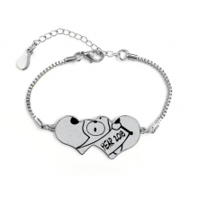 2018 Happy New Year Adorable Dog Double Hearts Shape Round-Cut Cubic Chain Bracelet Love Gifts