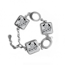2018 Happy New Year Adorable Dog Square Shape Metal Bracelet Love Gifts Jewelry With Chain Decoration