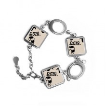 2018 Happy New Year Funny Big Dog Square Shape Metal Bracelet Love Gifts Jewelry With Chain Decoration