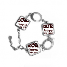 2018 Happy New Year Lovely Font Square Shape Metal Bracelet Love Gifts Jewelry With Chain Decoration