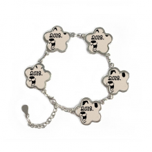 2018 Happy New Year Funny Big Dog Flower Shape Metal Bracelet Chain Gifts Jewelry With Chain Decoration