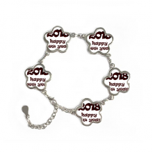 2018 Happy New Year Lovely Font Flower Shape Metal Bracelet Chain Gifts Jewelry With Chain Decoration