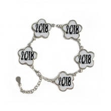 2018 Melt Effect Happy New Year Flower Shape Metal Bracelet Chain Gifts Jewelry With Chain Decoration