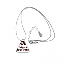 2018 Happy New Year Lovely Font Triangle Shape Pendant Necklace Jewelry With Chain Decoration Gift