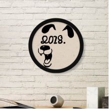 2018 Happy New Year Funny Big Dog Round Picture Frame Art Prints of Paintings Home Wall Decal Gift