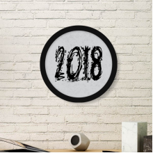 2018 Melt Effect Happy New Year Round Picture Frame Art Prints of Paintings Home Wall Decal Gift