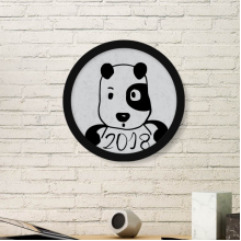 2018 New Year Adorable Cute Puppy Round Picture Frame Art Prints of Paintings Home Wall Decal Gift